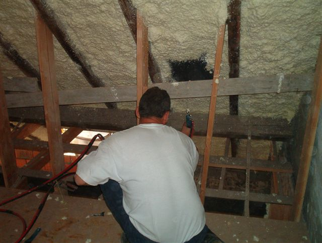 Loft insulation spray foam