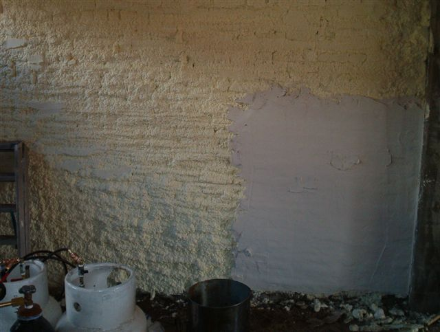 Foam being rendered with plaster