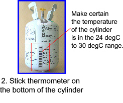 Stick thermometer on the bottom of the cylinder