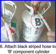 Attach hoses to correct cylinders